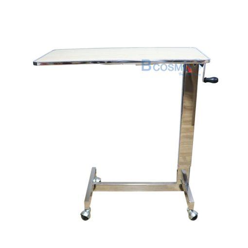 EB0001-CR-โต๊ะคร่อมเตียง-หน้าไม้โฟเมก้า-ขอบสแตนเลส-สีครีม
