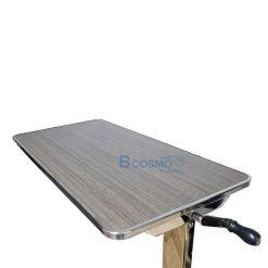 โต๊ะคร่อมเตียง หน้าไม้โฟเมก้า ขอบสแตนเลส สีเข้ม