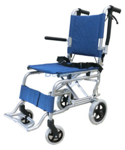 รถเข็นผู้ป่วยพับได้ ทำจากอลูมิเนียม Mini 2 สีน้ำเงิน (แถมกระเป๋า)