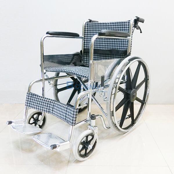 P-6662-รถเข็นล้อแม็กเบาะผ้า-สีดำขาว-Y809- WC1004-B รถเข็นวีลแชร์