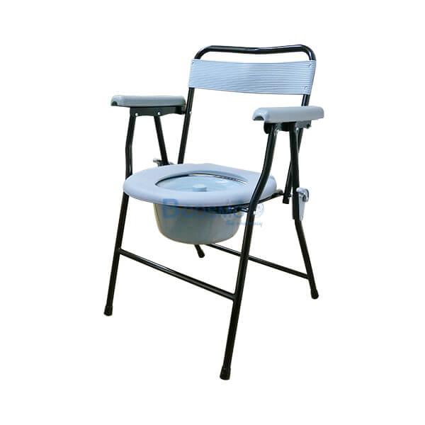 P-6697 - เก้าอี้นั่งถ่ายพลาสติก โครงเหล็ก Triple Y สีดำ