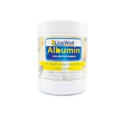LIVEWELL ALBUMIN ลีฟฟ์เวลล์อัลบูมิน ผงไข่ขาว 100% 450 กรัม กลิ่นน้ำผึ้งมะนาว