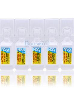 น้ำเกลือชนิดฉีด NSS 0.9% Sodium chloride 3 ml 1 ซอง = 5 หลอด