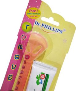 Dr.PHILLIPS อุปกรณ์ทำความสะอาดลิ้น + ยาสีฟัน Dentium Made in USA by Dr.Phillips