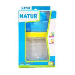 Natur สไมล์ 2 STEP ถ้วยหัดดื่มหัวหมี 7 ออนซ์ สีฟ้า