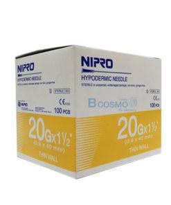 [1 กล่อง 100 ชิ้น] เข็มฉีดยา ยี่ห้อ นิโปร เบอร์ 20 X 1.5″