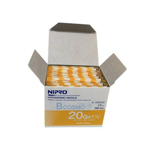 """เข็มฉีดยา ยี่ห้อ นิโปร เบอร์ 20 X 1.5"""" 100 ชิ้น"""