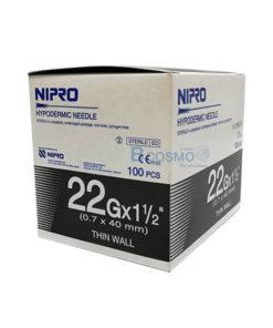 [1 กล่อง 100 ชิ้น]  เข็มฉีดยา ยี่ห้อ นิโปร เบอร์ 22 X 1.5″