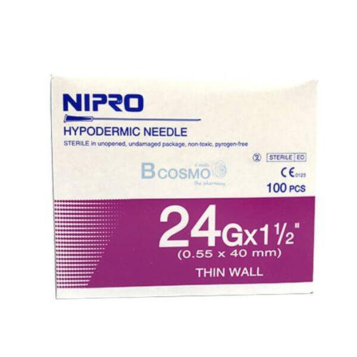 """เข็มฉีดยา ยี่ห้อ นิโปร เบอร์ 24 X 1.5"""" 100 ชิ้น"""