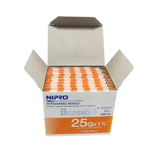"""เข็มฉีดยา ยี่ห้อ นิโปร เบอร์ 25 X 1.5"""" 100 ชิ้น"""