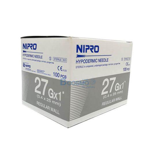 """เข็มฉีดยา ยี่ห้อ นิโปร เบอร์ 27 X 1"""" 100 ชิ้น"""
