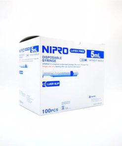 [ 1 ลัง 10 กล่อง] ไซริงค์ SYRINGE NIPRO 5 ML. 100 ชิ้น / กล่อง