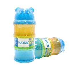 กระปุกแบ่งนม 3 ชั้น หัวหมี NATUR สีฟ้า