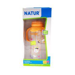 ขวดนมทรงถั่วพิมพ์ลาย+แขนจับ 8oz NATUR ส้ม