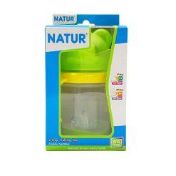 Natur สไมล์ 2 STEP ถ้วยหัดดื่มหัวหมี 7 ออนซ์ สีเขียว
