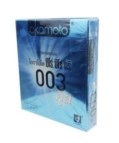 ถุงยางอนามัย Okamoto 003 Cool Zero Zero Three Cool (โอกาโมโต ซีโร่ ซีโร่ ซีโร่ ทรี คูล) Size 52 mm.
