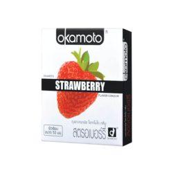 ถุงยางอนามัย Okamoto Strawberry (โอกาโมโต สตรอเบอร์รี่) Size 53 mm.