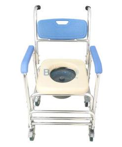 รถเข็นนั่งอาบน้ำ นั่งถ่าย เบาะนิ่ม พร้อมถัง รุ่น Y614L