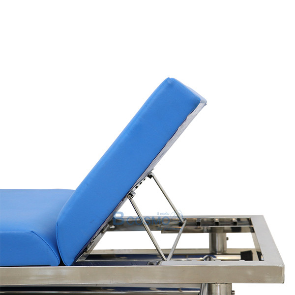 -สแตนเลส-โครงเหลี่ยม-MT0801-6 เตียงตรวจโรคสแตนเลส (โครงเหลี่ยม) 60x200x80 cm.