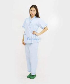 ชุดผู้ป่วยในโรงพยาบาล สีฟ้า