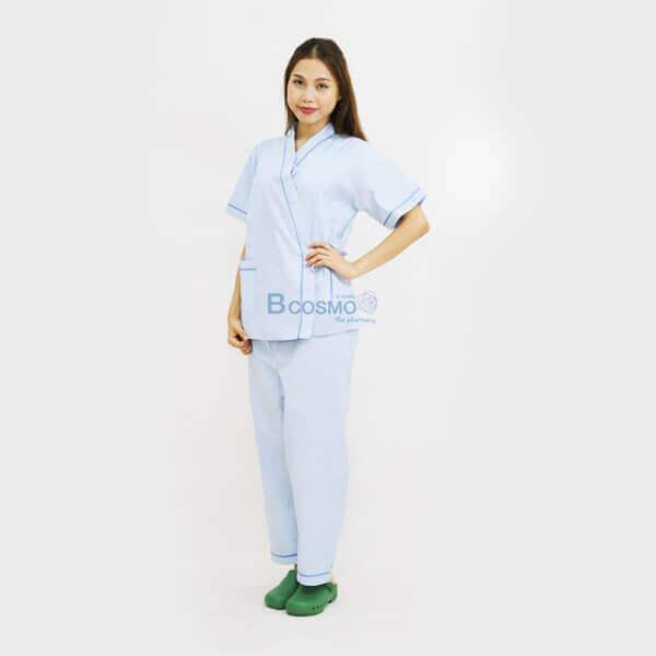MT0501-S-BL-MT0501-M-BL-MT0501-L-BL-MT0501-XL-BL-ชุดผู้ป่วยในโรงพยาบาล-ชุดคนไข้-สีฟ้า-2 ชุดผู้ป่วยในโรงพยาบาล สีฟ้า