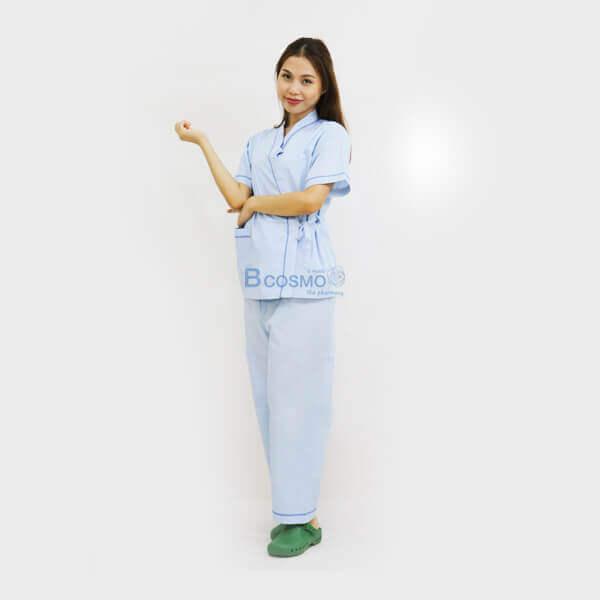 P-6320-P-6321-P-6687-P-6688-MT0501-S-BL-MT0501-M-BL-MT0501-L-BL-MT0501-XL-BL-ชุดผู้ป่วยในโรงพยาบาลชุดคนไข้สีฟ้า