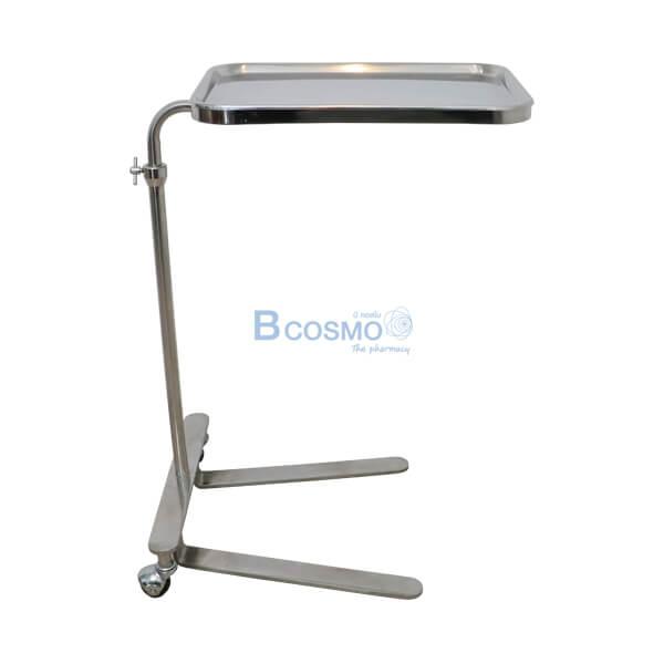 P-6816 - โต๊ะเมโยวางเครื่องมือแพทย์ (Mayo Stand) 2 ล้อ พร้อมถาด MT0003-2