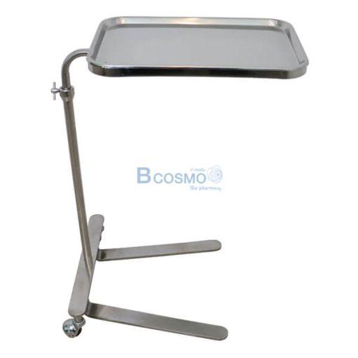 P-6816 - โต๊ะเมโยวางเครื่องมือแพทย์ (Mayo Stand) 2 ล้อ พร้อมถาด