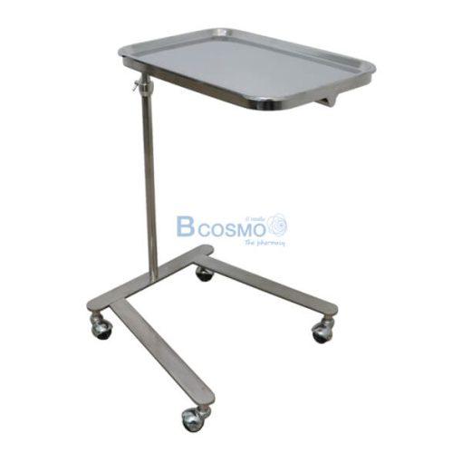 P-6817 - โต๊ะเมโยวางเครื่องมือแพทย์ (Mayo Stand) 4 ล้อ พร้อมถาด