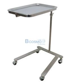 โต๊ะเมโยวางเครื่องมือแพทย์ (Mayo Stand) 4 ล้อ พร้อมถาด