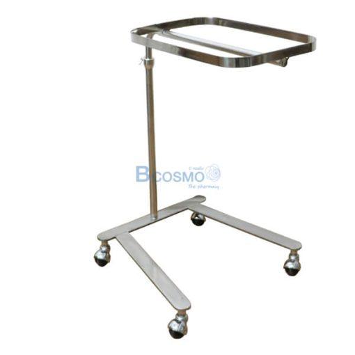 P-6817 - โต๊ะเมโยวางเครื่องมือแพทย์ (Mayo Stand) 4 ล้อ พร้อมถาด-3