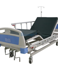 เตียงผู้ป่วย 3 ไกร์ มือหมุน ราวสไลด์ พร้อมเบาะนอน 4 ตอน