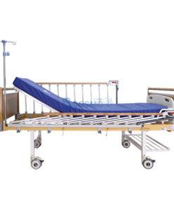 เตียงผู้ป่วย HOSPRO 2 ไกร์ มือหมุน ลายไม้ พร้อมเบาะนอน รุ่น Eco