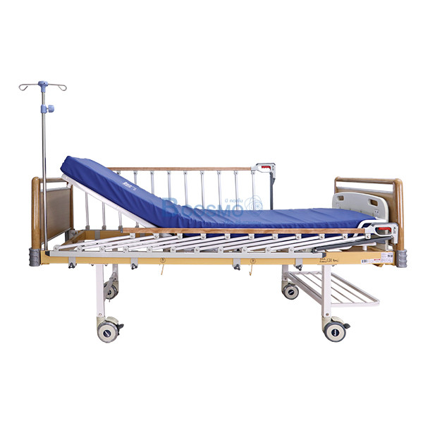 PB0005-W-5-ลายน้ำ เตียงผู้ป่วย HOSPRO 2 ไกร์ มือหมุน ลายไม้ พร้อมเบาะนอน รุ่น Eco