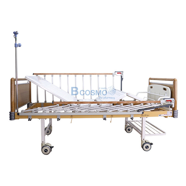 PB0005-W-7-ลายน้ำ เตียงผู้ป่วย HOSPRO 2 ไกร์ มือหมุน ลายไม้ พร้อมเบาะนอน รุ่น Eco