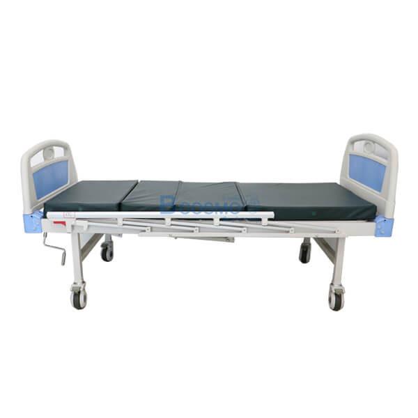 P-5961 - เตียงผู้ป่วย HOSPITAL BED มือหมุน 2 ไกร์ หัวท้าย ABS ราวสไลค์ พร้อมเบาะนอน 4 ตอน