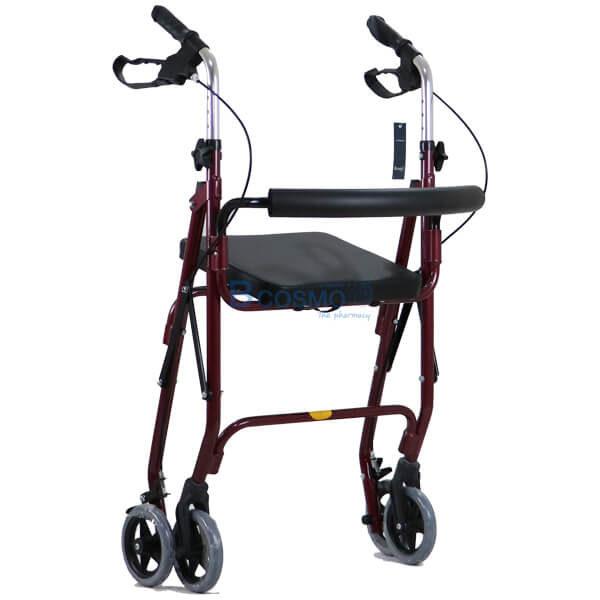 P-6765 - Wheelchair Rollator รถเข็นหัดเดิน 2 in 1 ล้อ 6 นิ้ว สีแดง Y861L