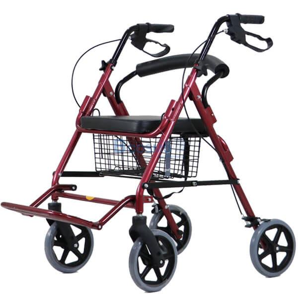 P-6767 - Wheelchair Rollator รถเข็นหัดเดินมีที่วางเท้า 2 in 1 สีแดง-19