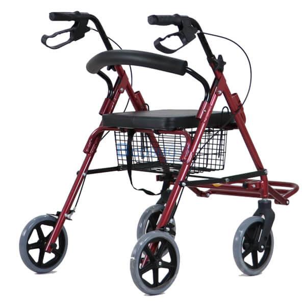 P-6767 - Wheelchair Rollator รถเข็นหัดเดินมีที่วางเท้า 2 in 1 สีแดง -2