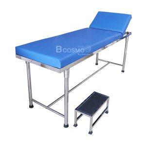 เตียงตรวจโรค สแตนเลส (โครงเหลี่ยม) + บันไดสแตนเลสขึ้นลงเตียง 1 ขั้น
