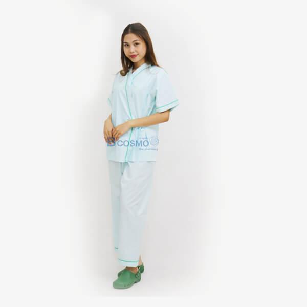 P-6317-P-6318-P-6319-MT0501-M-GR-MT0501-L-GR-MT0501-XL-GR - ชุดผู้ป่วยในโรงพยาบาล-ชุดคนไข้ สีเขียว