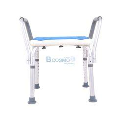เก้าอี้นั่งอาบน้ำ ไม่มีพนักพิง ที่พักแขน ที่นั่งฟ้า CST-3053 สีขาว