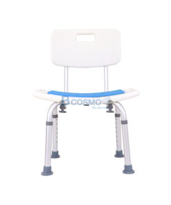 เก้าอี้นั่งอาบน้ำ มีพนักพิงเล็ก ที่นั่งฟ้า CST-3012 สีขาว