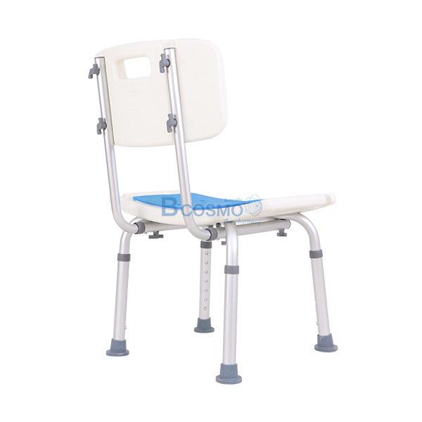 P-7195 ET0011 - เก้าอี้นั่งอาบน้ำ มีพนักพิงเล็ก ที่นั่งฟ้า CST-3012 สีขาว