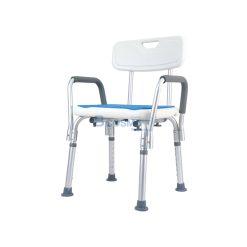 เก้าอี้นั่งอาบน้ำ มีพนักพิง ที่พักแขน ที่นั่งฟ้า CST-3052 สีขาว
