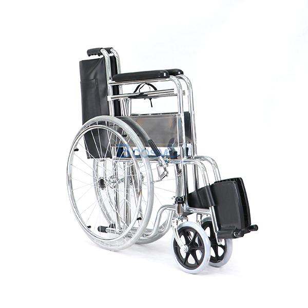 P-7238-WC1402-รถเหล็กนั่งถ่าย-FS609-U-12 รถเข็นผู้ป่วย นั่งถ่ายพับได้ โครงสร้างจากเหล็ก รุ่น FS609U