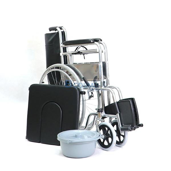P-7238-WC1402-รถเหล็กนั่งถ่าย-FS609-U-13 รถเข็นผู้ป่วย นั่งถ่ายพับได้ โครงสร้างจากเหล็ก รุ่น FS609U