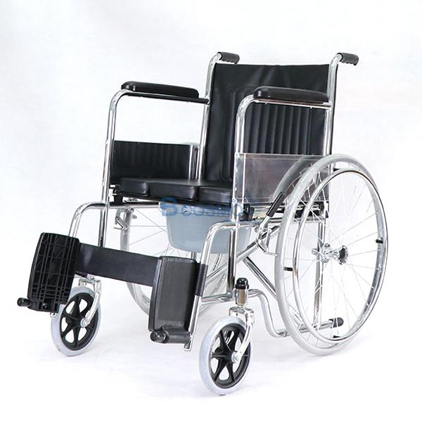P-7238-WC1402-รถเหล็กนั่งถ่าย-FS609-U-6 รถเข็นผู้ป่วย นั่งถ่ายพับได้ โครงสร้างจากเหล็ก รุ่น FS609U
