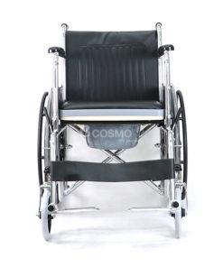 รถเข็นผู้ป่วย นั่งถ่าย ล้อแม็ก โครงเหล็กพับได้ CA609