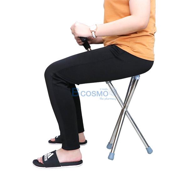ไม้เท้าช่วยพยุงเดินพร้อมเก้าอี้นั่งทรงกลม
